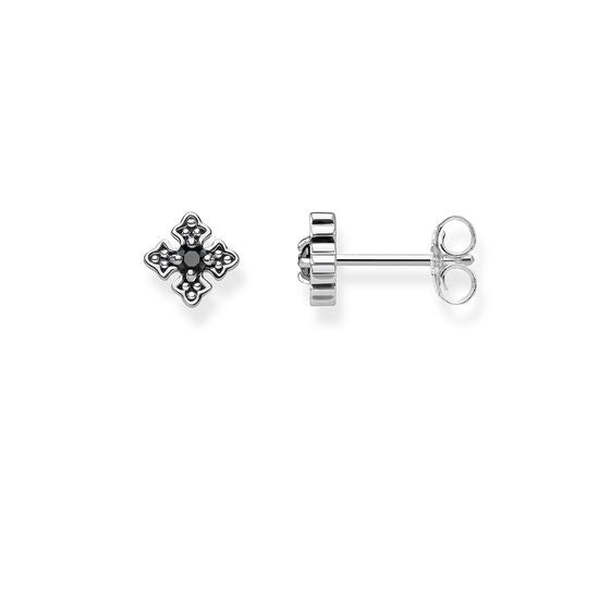 Thomas Sabo Earring Rebel at Heart Sterling Silver Black Cross Zirconia Studs H2021-643-11
