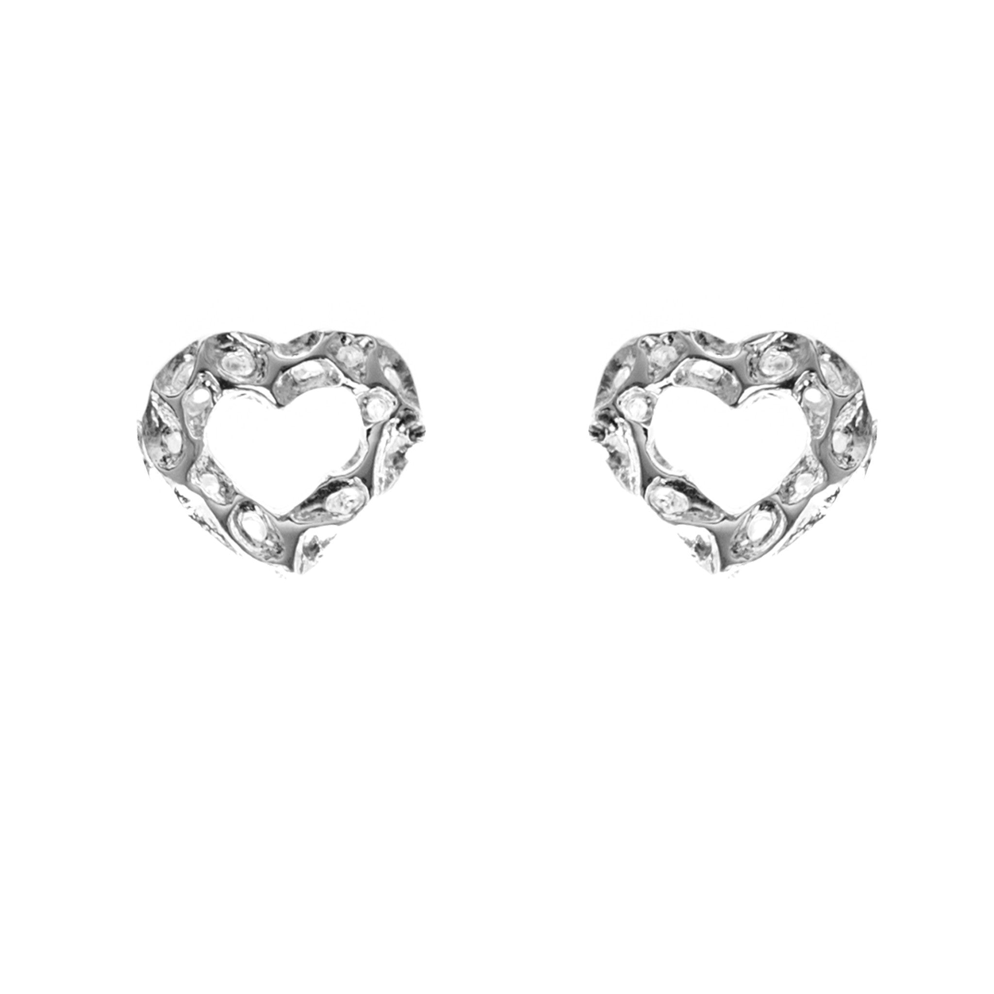 Rachel Galley Amore Sterling Silver Open Heart Stud Earrings