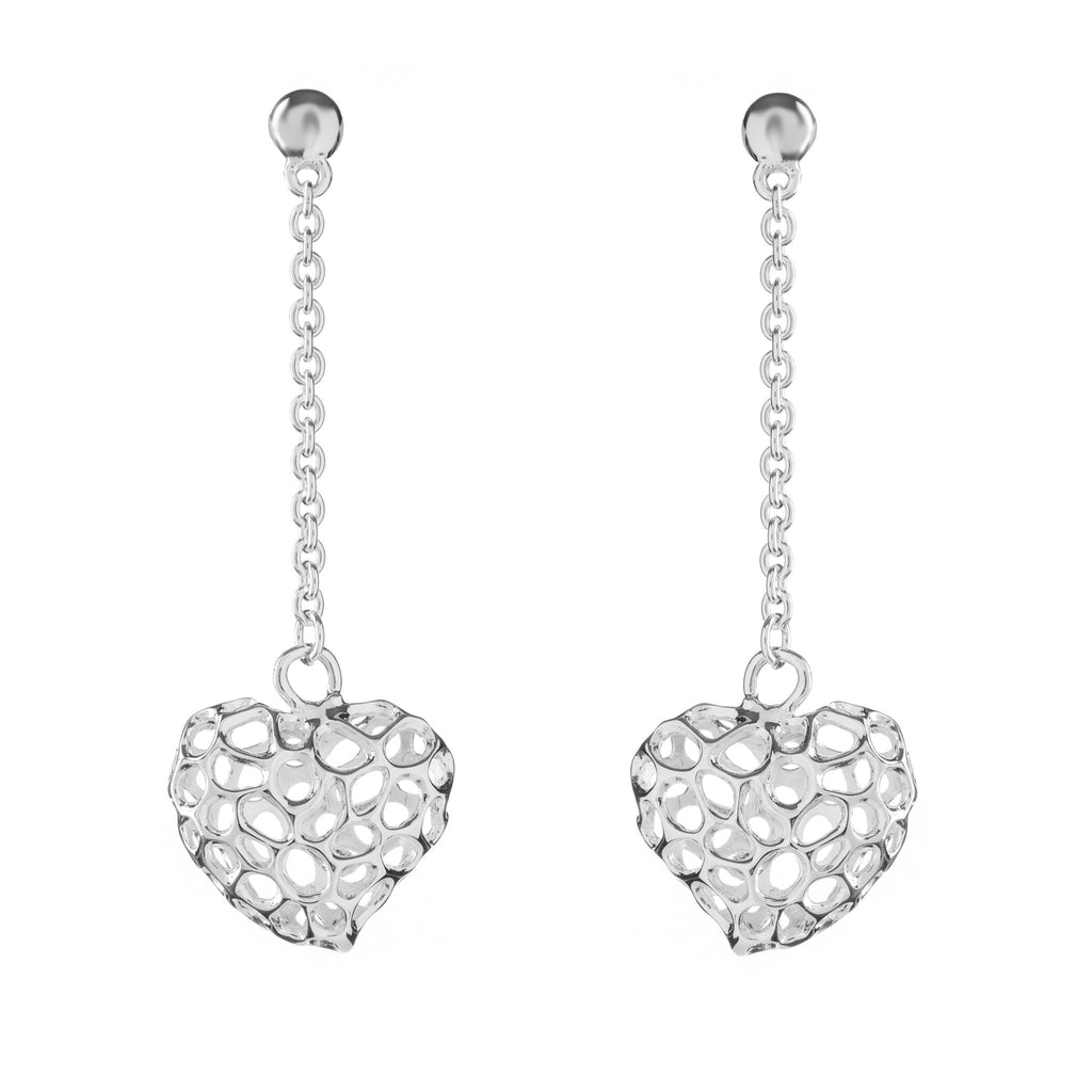 Rachel Galley Amore Sterling Silver Heart Lattice Drop Stud Earrings