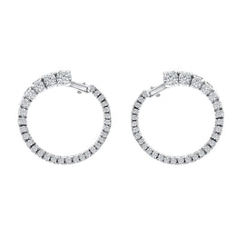 Hans D. Krieger 18ct White Gold 1.32ct Diamond Hoop Earrings KRG-051