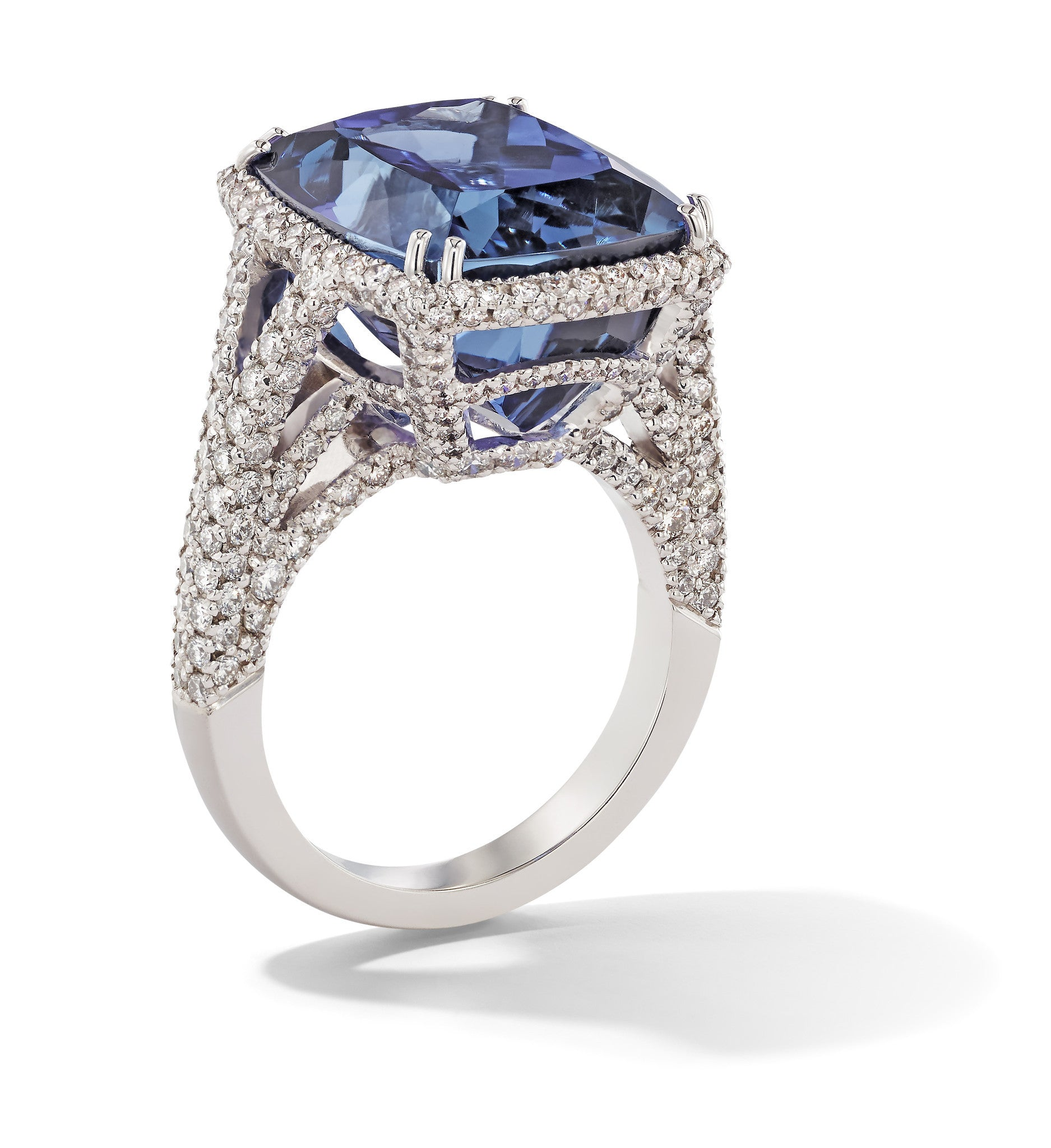 Hans D. Kreiger 18ct White Gold 17.93ct Tanzanite 1.85ct Diamond Emerald Cut Ring