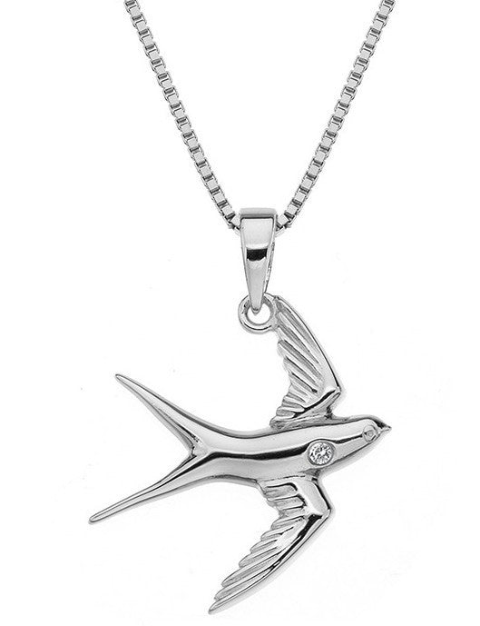 Hot Diamond Classic Sterling Silver Diamond Paradise Swallow Pendant