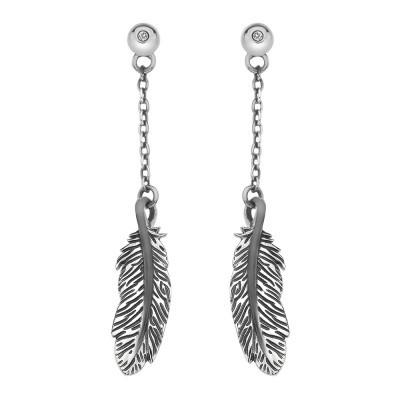 Hot Diamond Feather Sterling Silver Long Drop Earrings