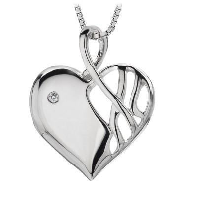 Hot Diamonds Arabesque Sterling Silver Eclipse Heart Necklace DP203