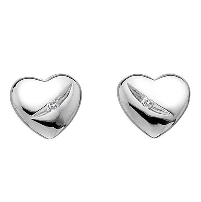 Hot Diamonds Classic Sterling Silver Diamond Shooting Star Heart Studs