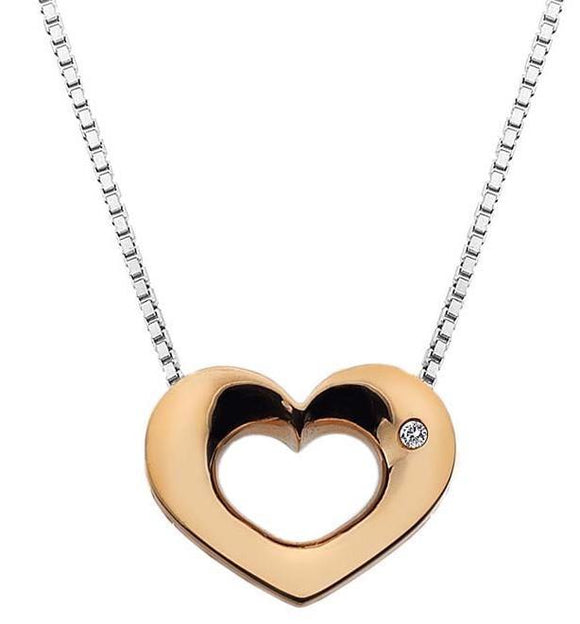 Hot Diamonds Emerge Rose Gold Plated Open Heart Necklace DP585