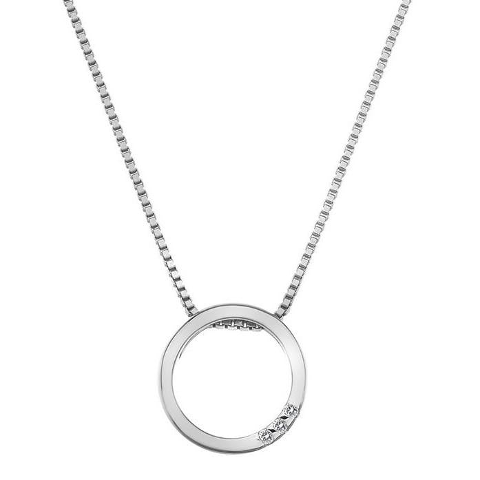 Hot Diamonds Halo Circle Sterling Silver Necklace
