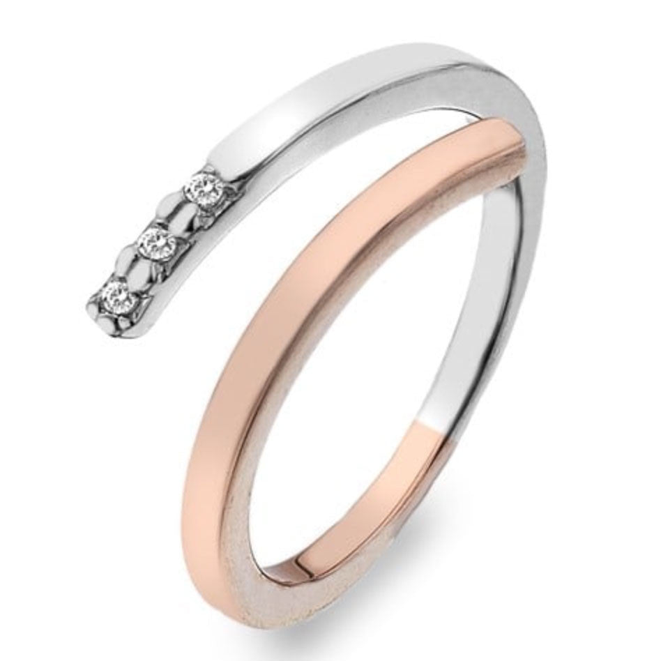 Hot Diamonds Love Sterling Silver Rose Gold Diamond Ring