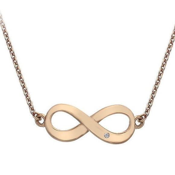 Hot Diamonds Love Sterling Silver Rose Gold Diamond Infinity Necklace DN115