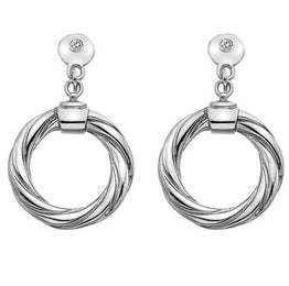 Hot Diamonds Luxury Sterling Silver And Diamond Breeze Hoop Drop Earrings DE473