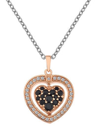 Hot Diamonds Luxury Sterling Silver Rose Gold Black And White Cubic Zirconis Diamond Turning Heart Pendant DP607
