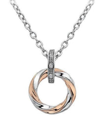Hot Diamonds Luxury Sterling Silver Rose Gold Diamond Breeze Pendant DP629