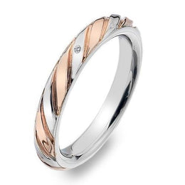 Hot Diamonds Luxury Sterling Silver Rose Gold Diamond Breeze Ring DR177