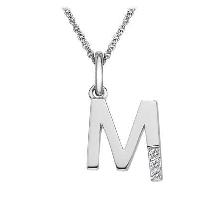 Hot Diamonds Micro 'M' Silver Necklace DP413
