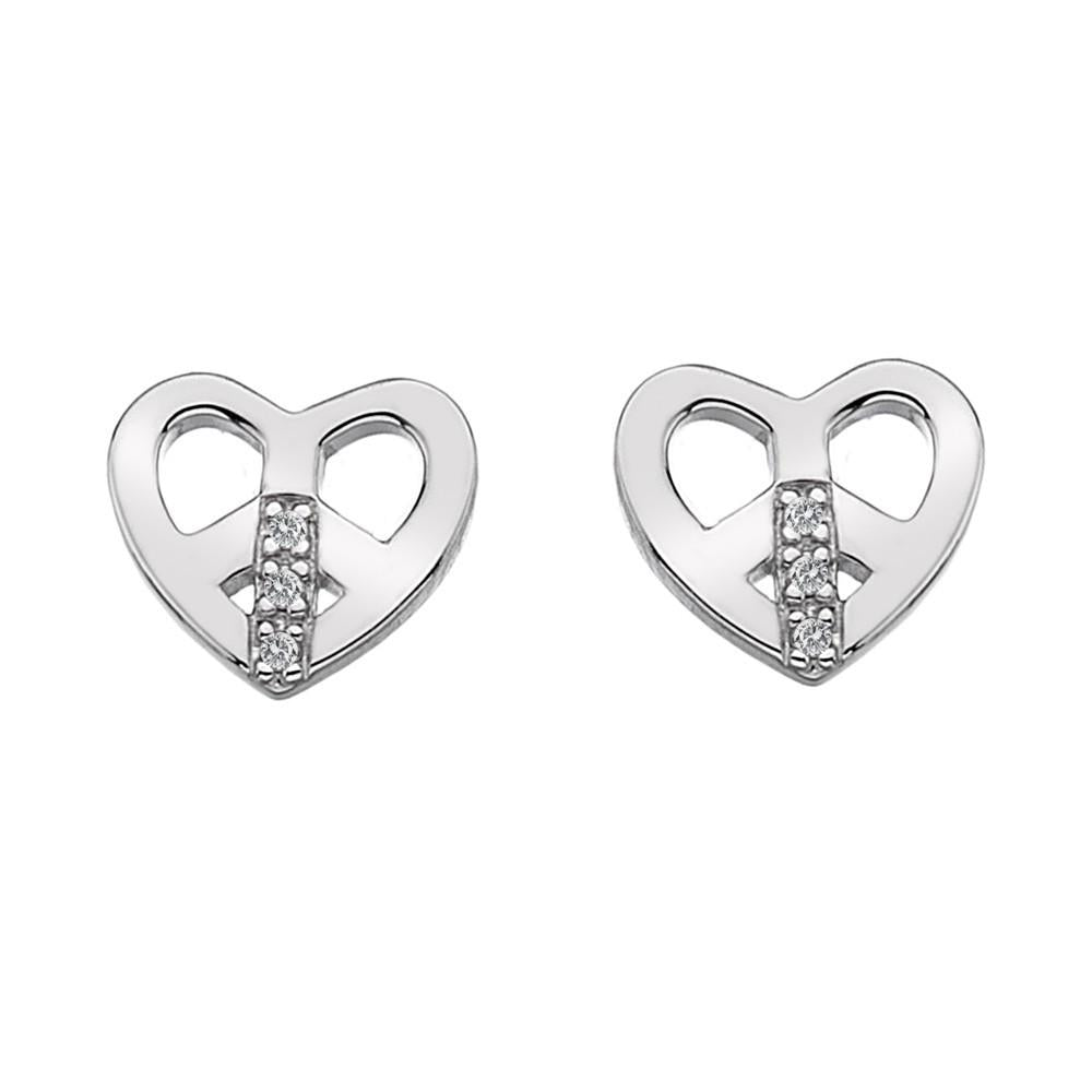 Hot Diamonds Micro Sterling Silver Love and Peace Earrings D