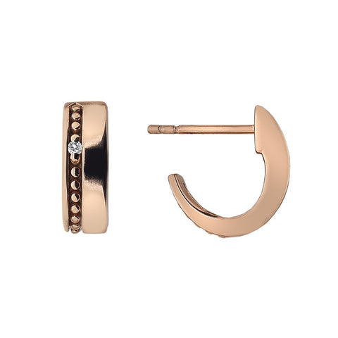 Hot Diamonds Rose Gold Plated Sterling Silver Diamond Set Trio Hoop Earrings