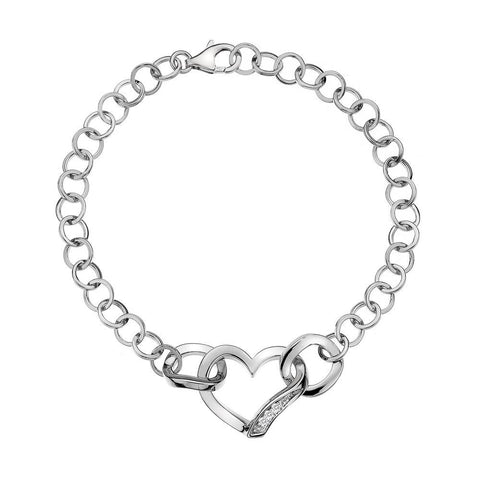 Hot Diamonds Simply Sparkle Sterling Silver Heart Bracelet