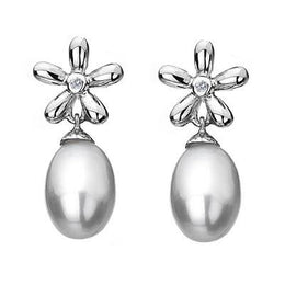 Hot Diamonds Sterling Silver Pearl Flower Earrings DE297
