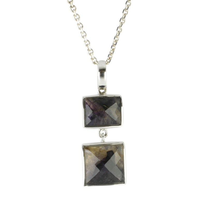 Blue John Necklace Two Square Drop Silver
