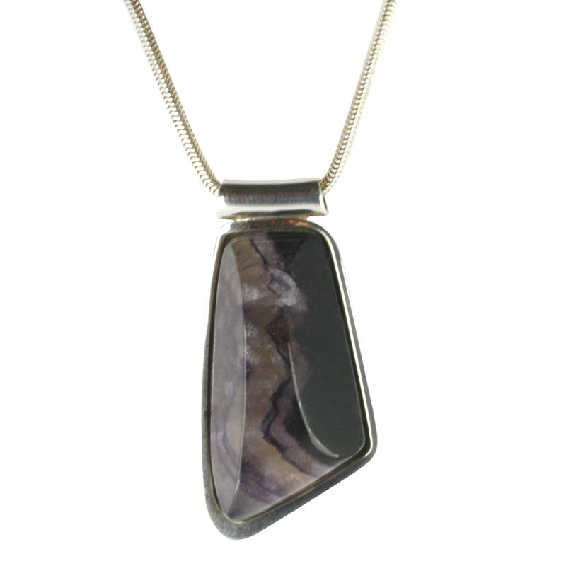 Blue John Necklace Organic Design Silver