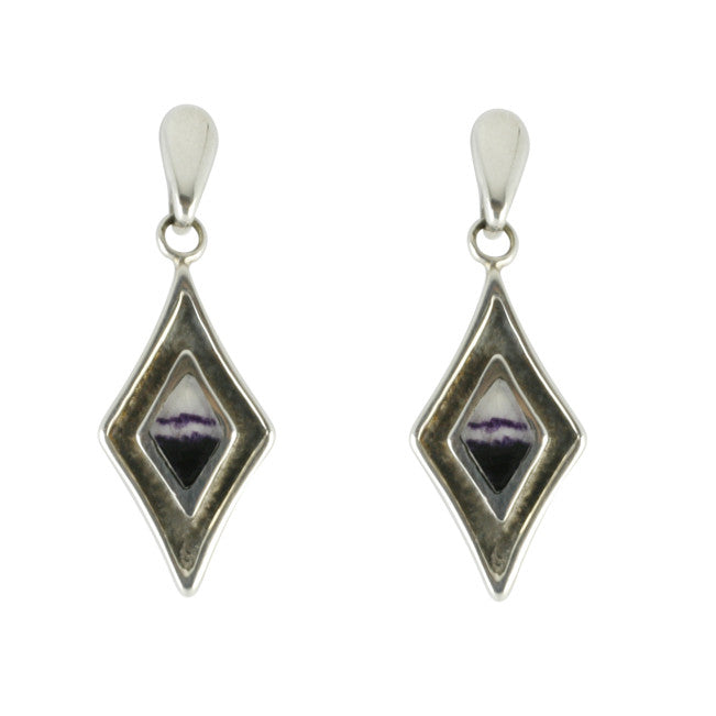 Blue John Earrings Drop Kite Silver
