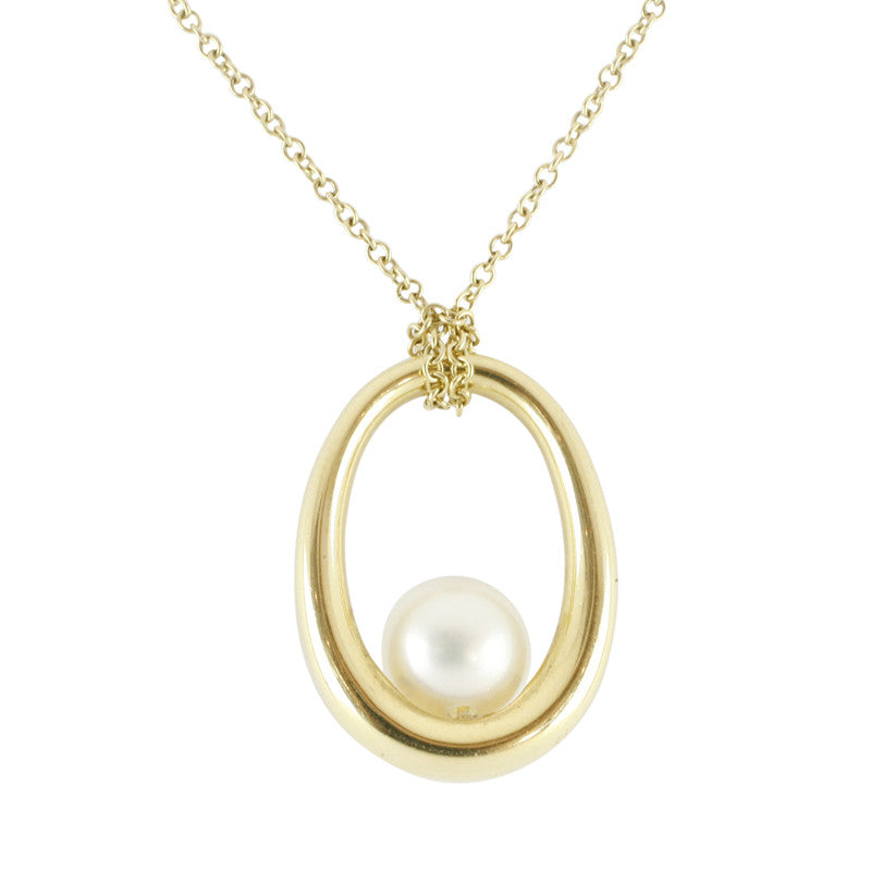 Mikimoto Necklace Loop White Pearl 18ct Yellow Gold D
