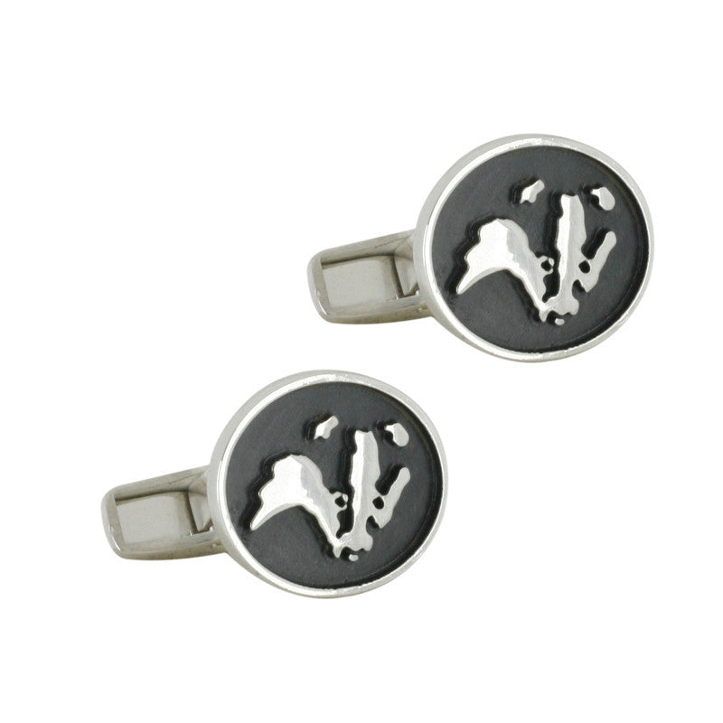 Wild Life Trust Collection Oval Cuff Links Badger Silver