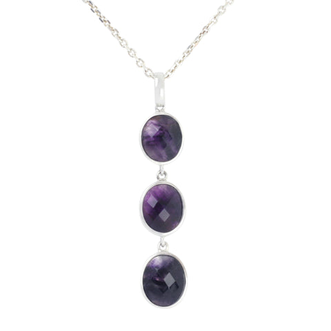 Blue John Necklace Three Stone Drop Silver