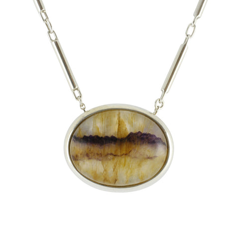Blue John Necklace Oval Silver