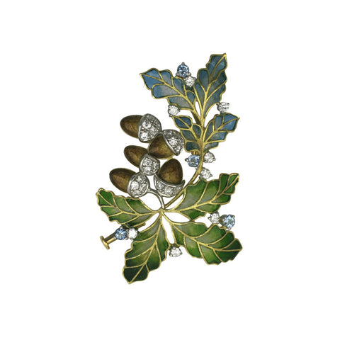 CW Sellors Brooch Oak Leaf Enamelled Yellow Gold