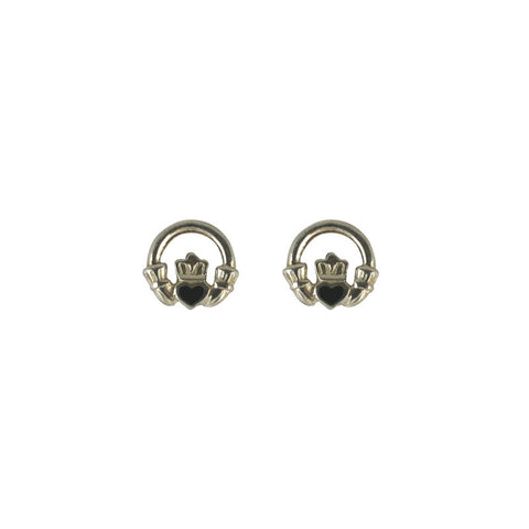 Whitby Jet Earrings Stud Claddaugh Silver