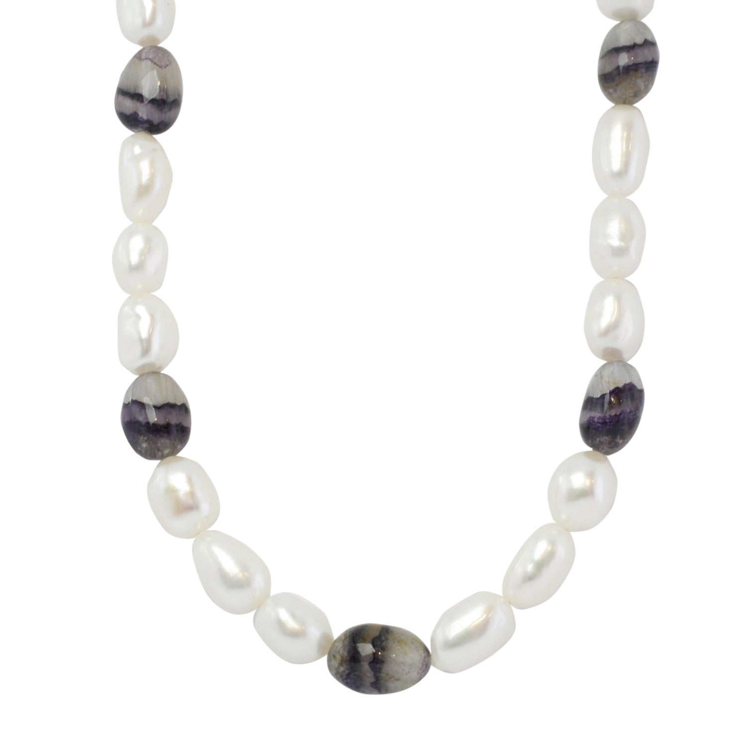 Blue John Necklace Long White Pearl