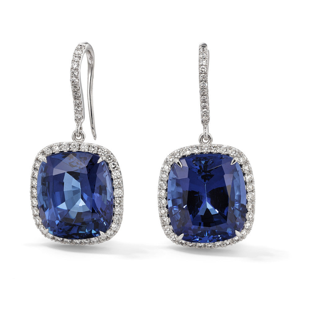 18ct White Gold Tanzanite and Diamond Cluster Earrings