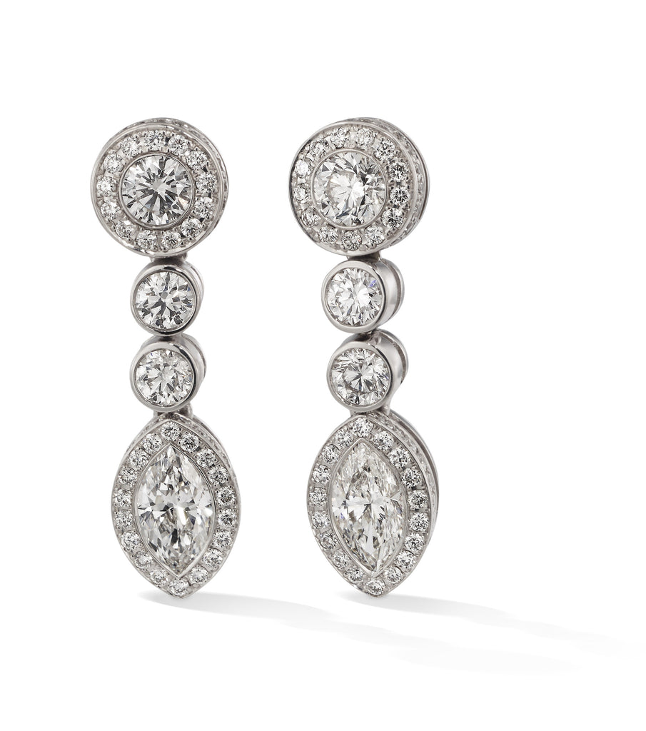 Hans D. Kreiger 18ct White Gold Diamond Drop Earrings