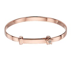 Little Star Gracie Sterling Silver with Rose Gold Diamond Star Christening Bangle