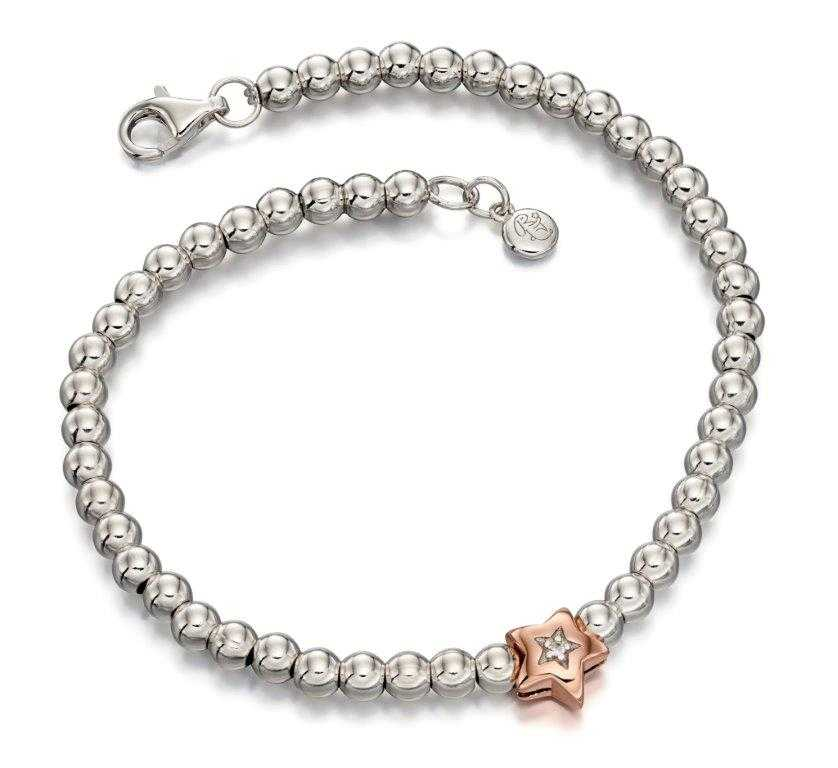 Little Star Daisy Sterling Silver with Rose Gold Diamond Star Bead Bracelet