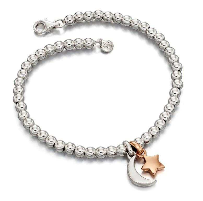 Little Star Gigi Sterling Silver with Rose Gold Double Star and Moon Bead Bracelet