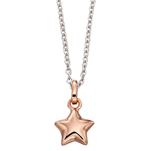 Little Star Harper Sterling Silver with Rose Gold Vermeil Star Necklace