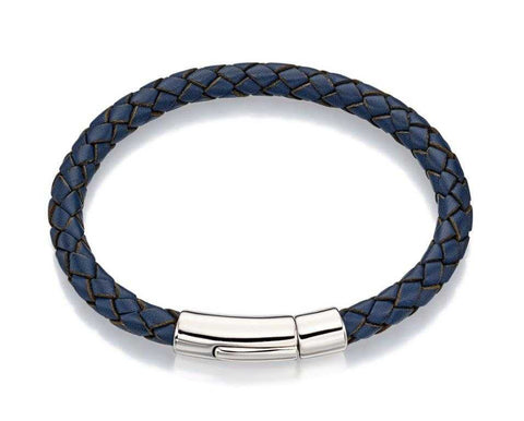 Little Star Hugo Sterling Silver Boys Navy Leather Bracelet