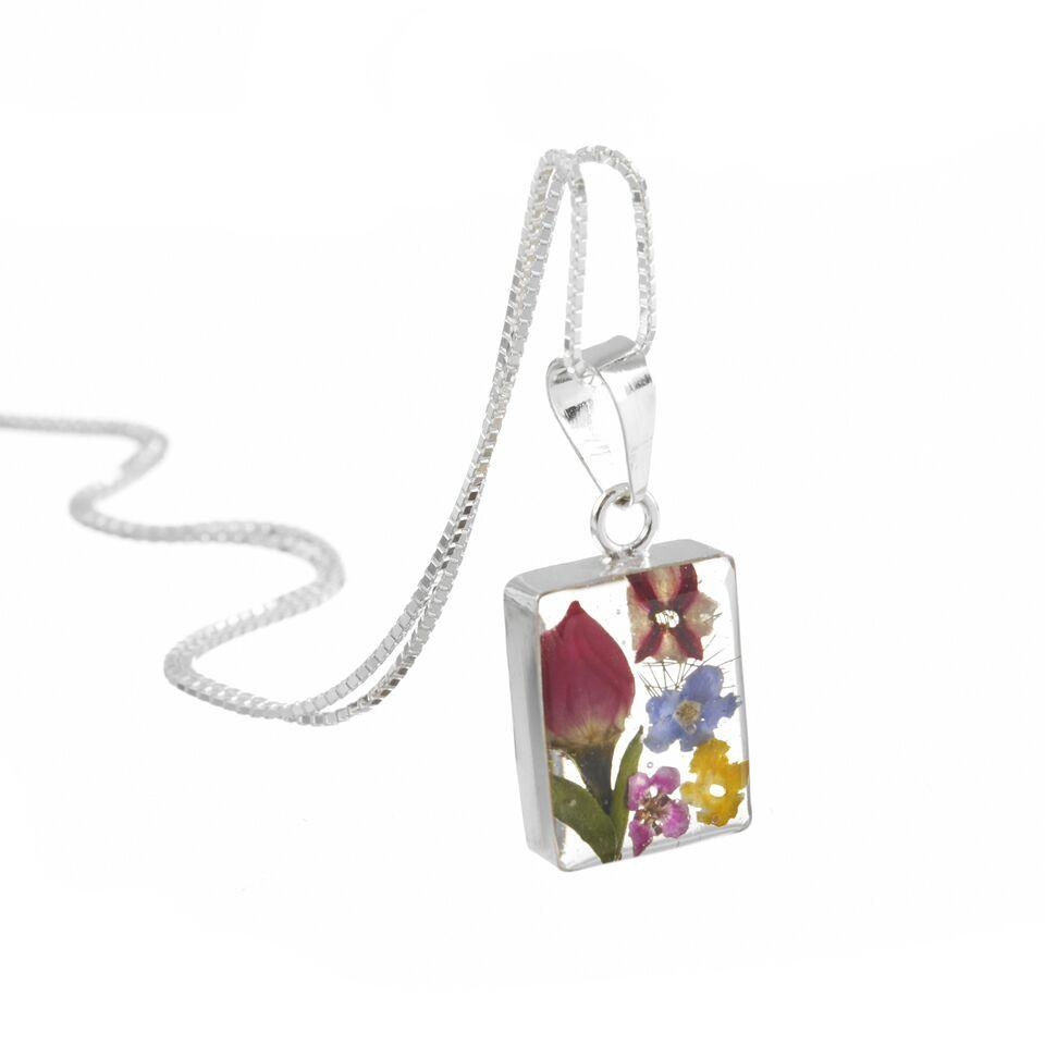Shrieking Violet Necklace Mixed Flowers Rectangle Silver