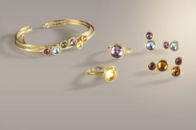Marco Bicego Jaipur 18ct Yellow Gold Amethyst Topaz Stud Earrings, OB1518 MIX52.
