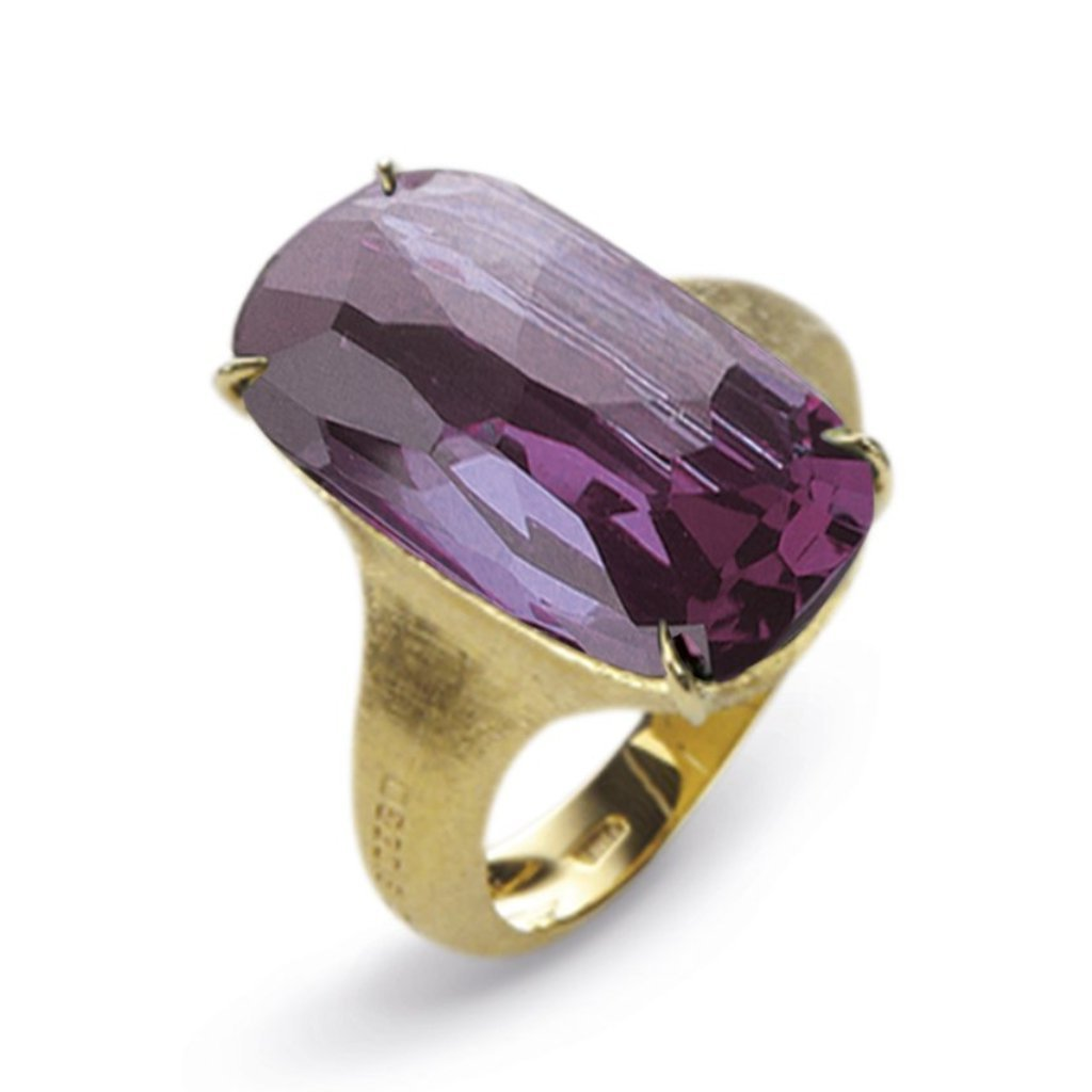 Marco Bicego Murano 18ct Yellow Gold Amethyst Cushion Cut Ring