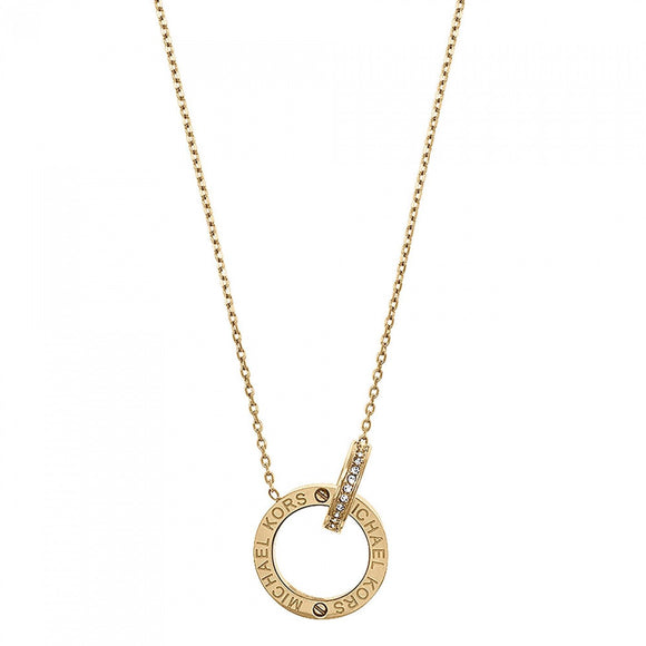 Michael Kors Yellow Gold Circular Interlocking Logo Necklace D MKJ4678710