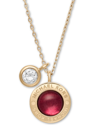 kors productx bluewater necklace pendant gold shopping rose michael love logo tone product