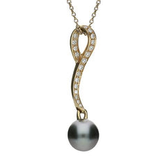 Mikimoto 18ct Rose Gold Diamond Black A+ South Sea Pearl Loop Pendant