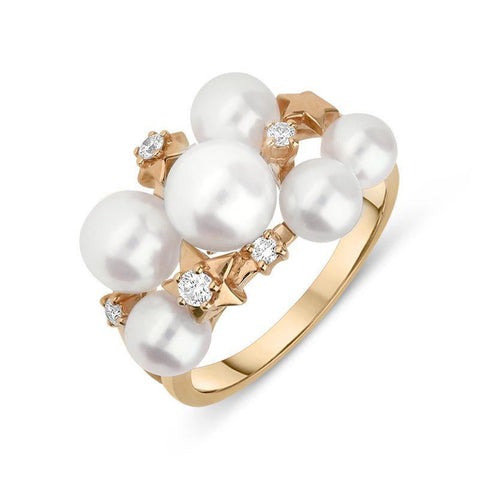 5f59d69b558fd Mikimoto 18ct Rose Gold Diamond White Akoya Pearl Stars Ring