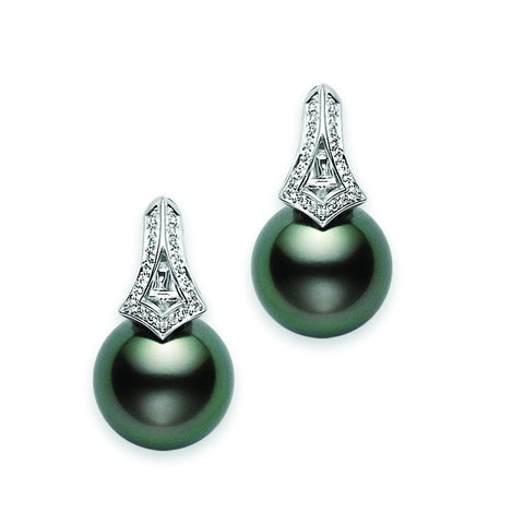 Mikimoto 18ct White Gold 0.18ct Diamond Black Pearl Earrings