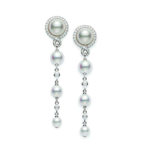 Mikimoto 18ct White Gold 0.29ct Diamond Akoya Petit Soleil Earrings