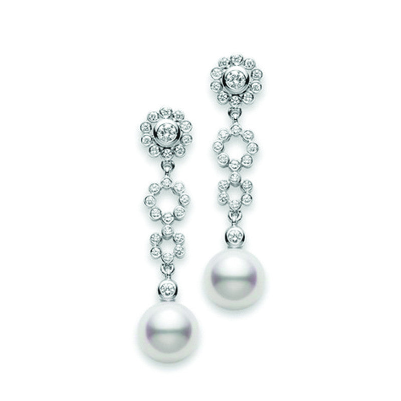 Mikimoto 18ct White Gold 0.39ct Diamond Akoya Pearl Lace Drop Earrings