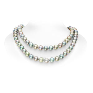 Mikimoto 18ct White Gold Black South Sea Multi-coloured Pearl Diamond Necklace